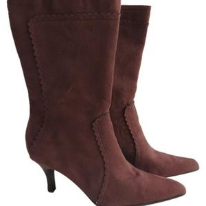 Shoes - Nwt Women's Brown Faux Suede Mid Calf Boots Size 8